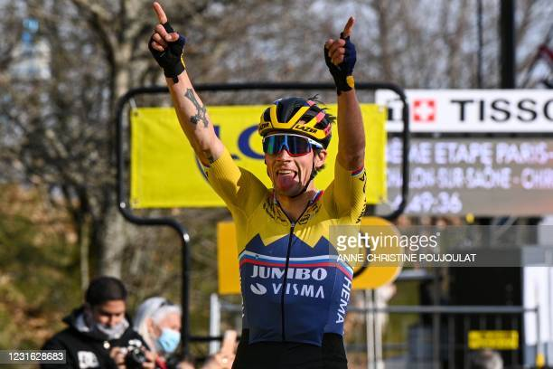 Team Jumbo rider Slovenia's Primoz Roglic celebrates as he crosses the finish line at the end of the 4th stage of the 79th Paris - Nice cycling race,...
