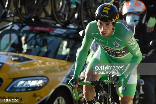 Team Jumbo rider Slovenia's Primoz Roglic competes the 13th stage of the 2020 La Vuelta cycling tour of Spain, a 33.7-km individual time-trial from...