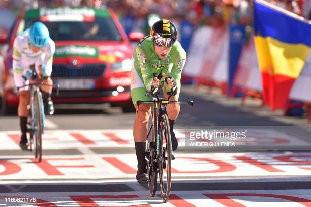 Team Jumbo rider Slovenia's Primoz Roglic crosses the finish line of the tenth stage of the 2019 La Vuelta cycling Tour of Spain, a 36,2 km...