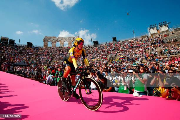 Team Jumbo rider Slovenia's Primoz Roglic enters the arena after competing in stage twenty-one, the final stage of the 102nd Giro d'Italia - Tour of...