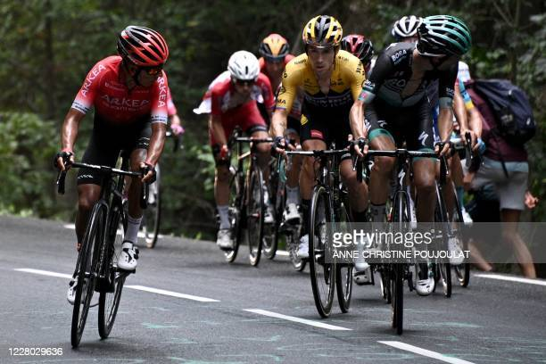 Team Jumbo rider Slovenia's Primoz Roglic rides during the second stage of the 72nd edition of the Criterium du Dauphine cycling race, 135 km between...
