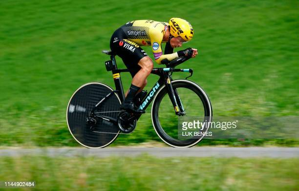 Team Jumbo rider Slovenia's Primoz Roglic takes part in stage nine of the 102nd Giro d'Italia Tour of Italy cycle race a 348 km timetrial from...