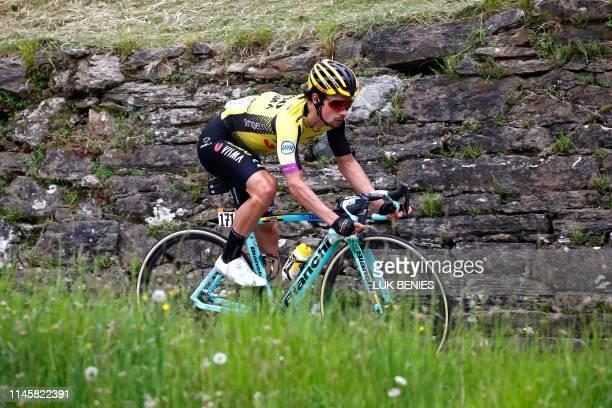 Team Jumbo rider Slovenia's Primoz Roglic takes part in stage twelve of the 102nd Giro d'Italia Tour of Italy cycle race 158kms from Cuneo to...