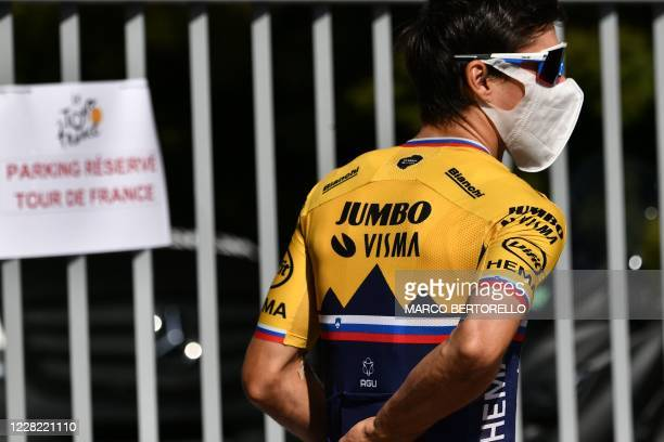 Team Jumbo rider Slovenia's Primoz Roglic waits prior to a training session two days before the start of the 1st stage of the 107th edition of the...