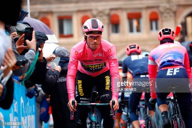 Team Jumbo rider Slovenia's Primoz Roglic wearing the overall leader's pink jersey takes the start of the second stage of the 2019 Giro d'Italia the...