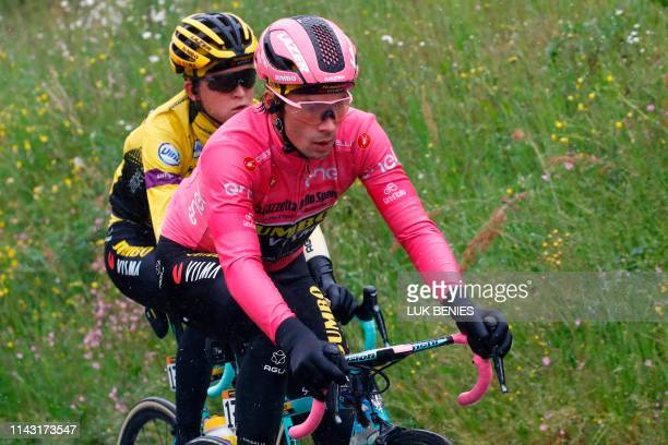 Team Jumbo rider Slovenia's Primoz Roglic wearing the overall leader's pink jersey competes during the second stage of the 2019 Giro d'Italia the...