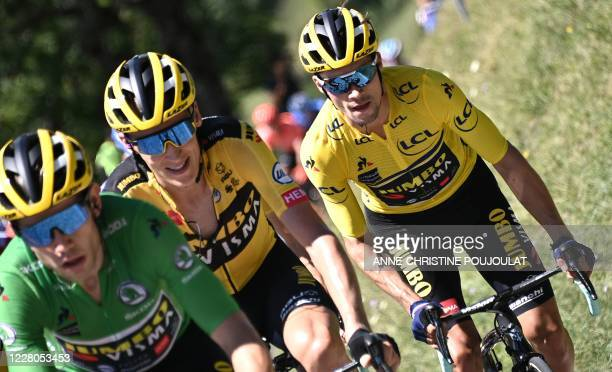 Team Jumbo rider Slovenia's Primoz Roglic wearing the overall leader's yellow jersey climb during the fourth stage of the 72nd edition of the...