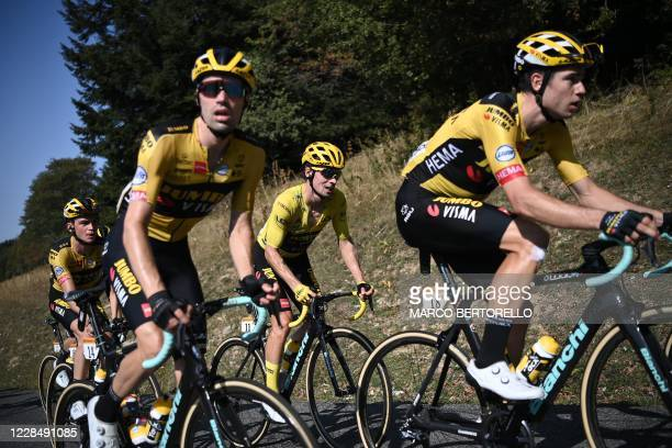 Team Jumbo rider Slovenia's Primoz Roglic wearing the overall leader's yellow jersey climbs during the 15th stage of the 107th edition of the Tour de...