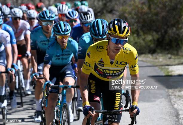 Team Jumbo rider Slovenia's Primoz Roglic wearing the overall leader's yellow jersey competes during the 7th stage of the 79th Paris - Nice cycling...