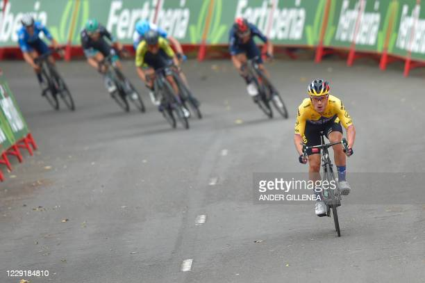 Team Jumbo rider Slovenia's Primoz Roglic wins the 1st stage of the 2020 La Vuelta cycling tour of Spain, a 173 km race from Irun to Arrate on...