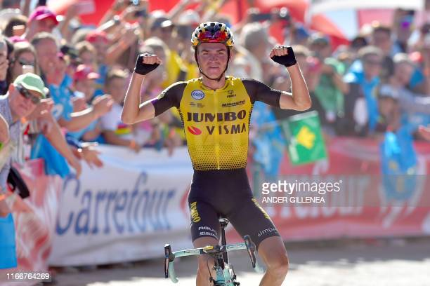 Team Jumbo rider US Sepp Kuss crosses the finish line of the 15th stage of the 2019 La Vuelta cycling Tour of Spain, a 154,4 km race from Tineo to...