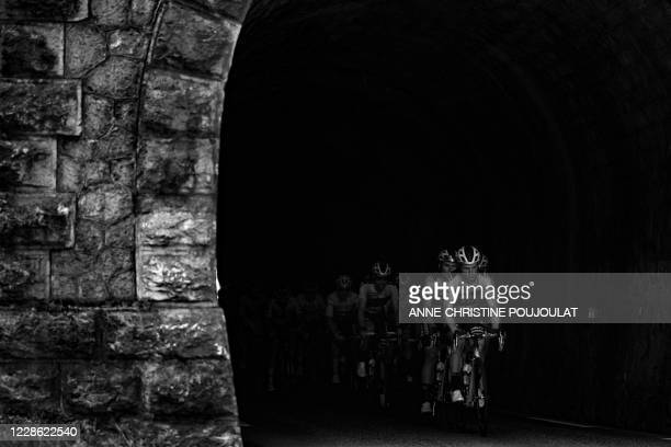 Team Jumbo - Visma riders lead the pack during the 16th stage of the 107th edition of the Tour de France cycling race, 164 km between La Tour du Pin...