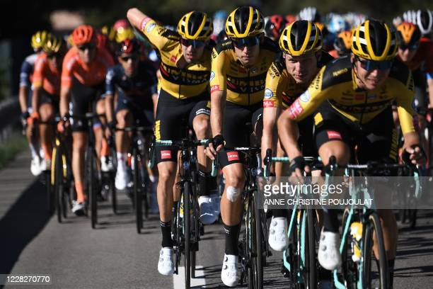 Team Jumbo - Visma riders lead the pack during the 2nd stage of the 107th edition of the Tour de France cycling race, 187 km between Nice and Nice,...