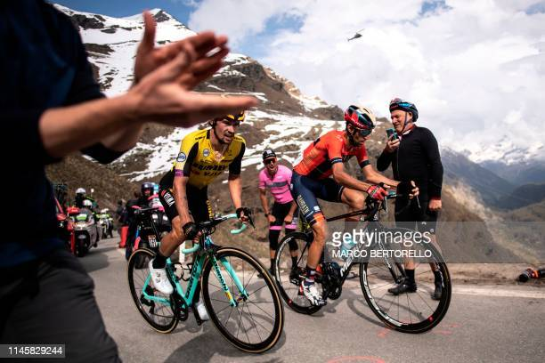 Team Jumbo Visma Slovenia's Primoz Roglic and Team Bahrain Merida Italy's rider Vincenzo Nibali climbs during the stage thirteen of the 102nd Giro...