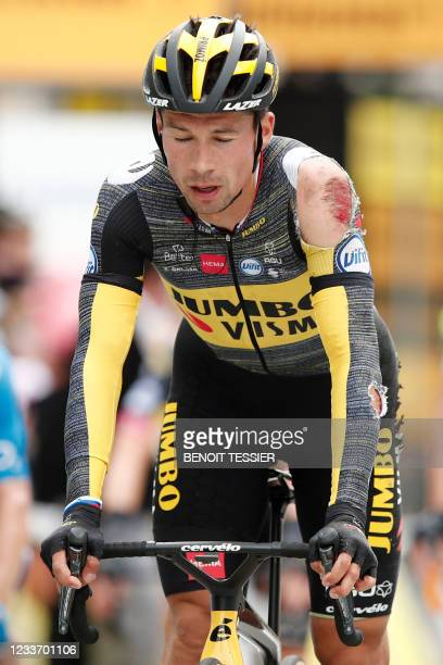 Team Jumbo Visma's Primoz Roglic of Slovenia reacts as he crosses the finish line of the 3rd stage of the 108th edition of the Tour de France cycling...