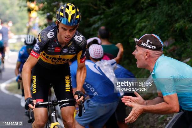 Team Jumbo Visma's Sepp Kuss of US climbs the Beixalis pass during the 15th stage of the 108th edition of the Tour de France cycling race, 191 km...