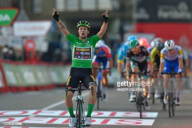 Team Jumbo's Slovenian rider Primoz Roglic celebrates as he crosses the finish-line of the 10th stage of the 2020 La Vuelta cycling tour of Spain, a...