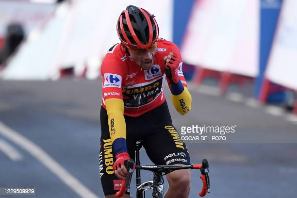 Team Jumbo's Slovenian rider Primoz Roglic reacts at the end of the 17th stage of the 2020 La Vuelta cycling tour of Spain, a 178,2-km race from...