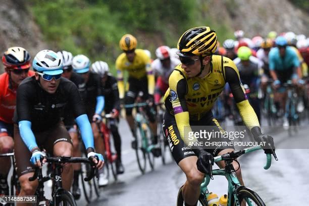 Team Jumbo-Visma rider US Neilson Powless rides ahead of Team Jumbo-Vismarider Belgium's Maarten Wynants during the second stage of the 71st edition...
