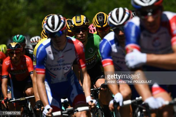Team Jumbo-Vismarider Belgium's Wout van Aert , wearing the best sprinter's green jersey, rides in the pack during the fifth stage of the 71st...