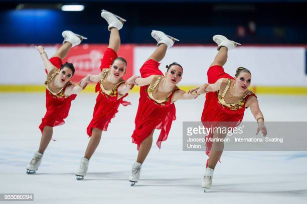 Team Junost Junior of Russia compete in the Free Skating during the World Junior Synchronized Skating Championships at Dom Sportova on March 17 2018...