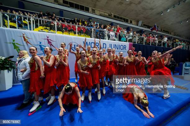 Team Junost Junior of Russia react after the Free Skating during the World Junior Synchronized Skating Championships at Dom Sportova on March 17,...