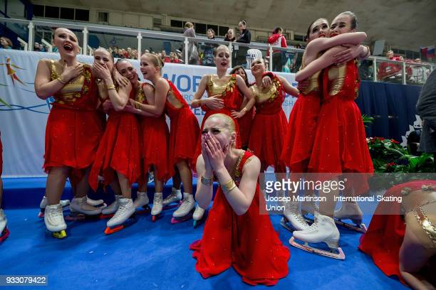 Team Junost Junior of Russia react after the Free Skating during the World Junior Synchronized Skating Championships at Dom Sportova on March 17 2018...