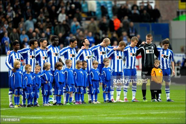 Team KAA Gent during a one minute of silence as tribute to the victims of the buscrash in Switzerland during the Jupiler League match between KAA...
