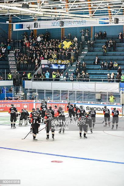 Team Karpat Oulu greeting fans after a winning the Champions Hockey League quarter final between Karpat Oulu and Espoo Blues at Oulun Energia-Areena...