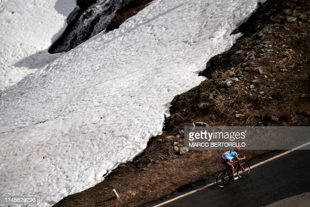 Team Katusha rider Russia's Ilnur Zakarin climbs during the stage thirteen of the 102nd Giro d'Italia Tour of Italy cycle race 196kms from Pinerolo...