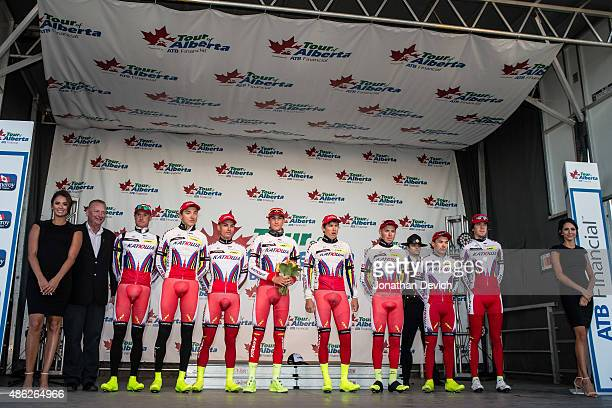 Team Katyusha is presented on the podium for taking third place in the team time trial during stage 1 of the Tour of Alberta on September 2 2015 in...