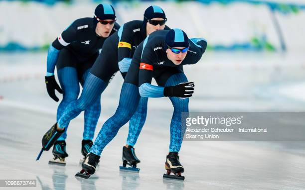 Team Kazachstan competes in the Mens Team Pursuit sprint race during the ISU Junior World Cup Speed Skating Final day 1 on February 9 2019 in Trento...