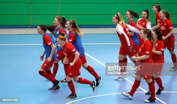 Team Koeln celebrate the winning of the penalty after the DFBFutsalCup half final match between 1FC Koeln vs SV Adler Berlin on March 11 2018 in...
