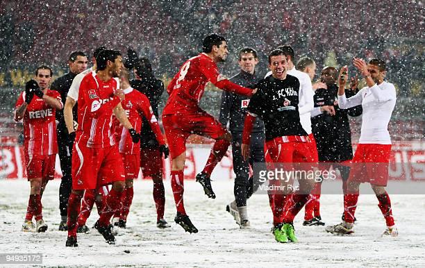 Team Koeln celebrates after winning 3:0 the Bundesliga match between 1. FC Koeln and 1. FC Nuernberg at RheinEnergieStadion on December 20, 2009 in...
