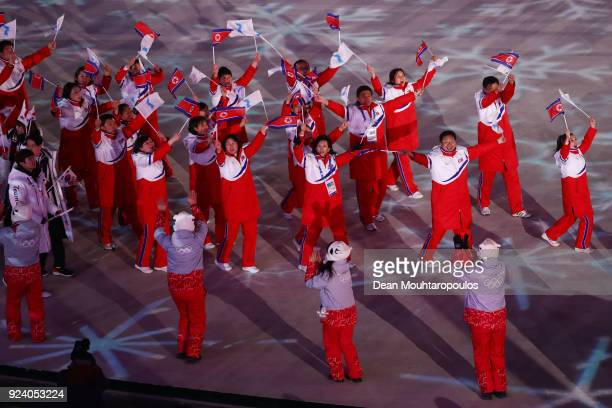 Team Korea and Team Republic of Korea walk in the Parade of Athletes during the Closing Ceremony of the PyeongChang 2018 Winter Olympic Games at...