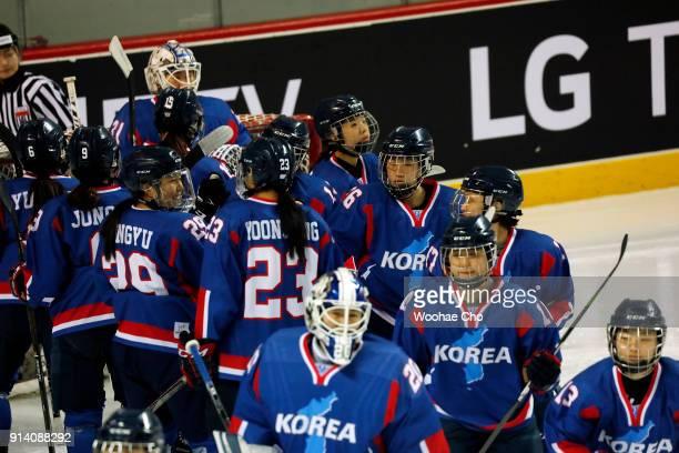 Team Korea before the Women's Ice Hockey friendly match at Seonhak International Ice Rink on February 4 2018 in Incheon South Korea The friendly...