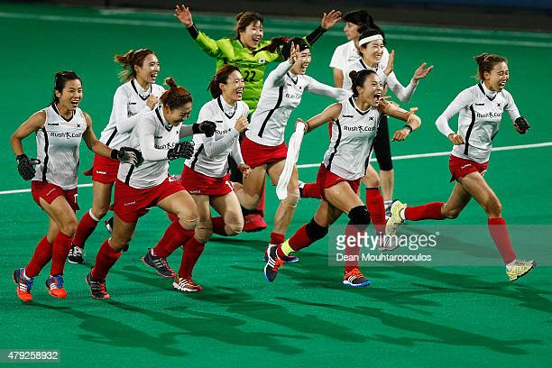 Team Korea celebrate winning the penalty shoot out against New Zealand during the Fintro Hockey World League SemiFinal match between South Korea and...