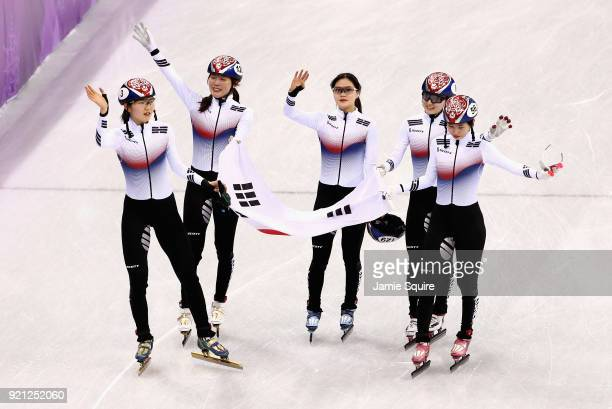 Team Korea celebrates winning during the Ladies Short Track Speed Skating 3000m Relay Final A on day eleven of the PyeongChang 2018 Winter Olympic...