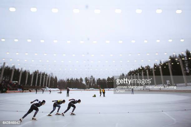 Team Korea compete in the ladies team pursuit during day three of the World Junior Speed Skating Championships at Oulunkyla Sports Park on February...