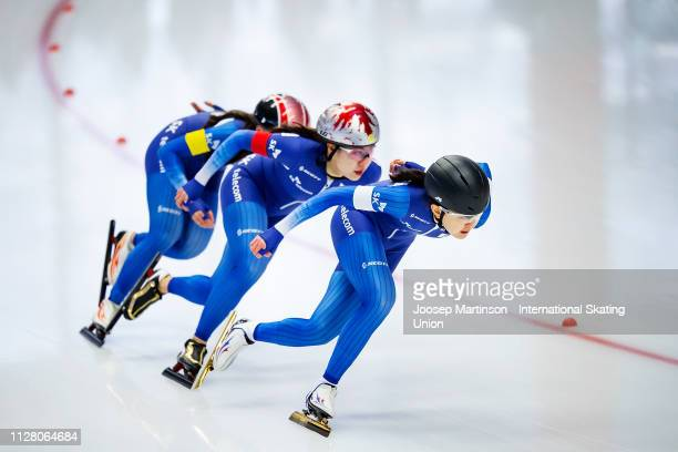 Team Korea compete in the Ladies Team Sprint during day 1 of the ISU World Single Distances Speed Skating Championships at Max Aicher Arena on...