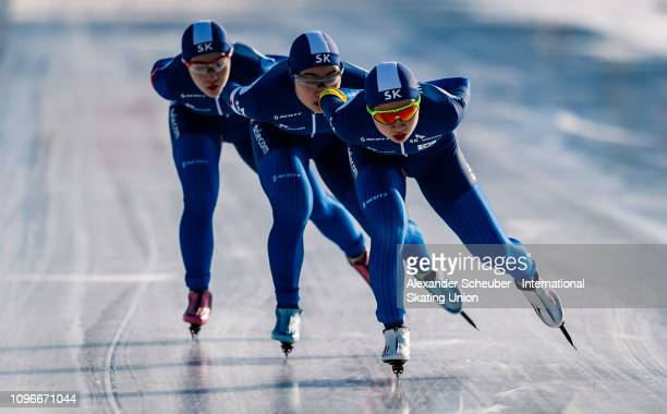 Team Korea competes in the Ladies Team Pursuit sprint race during the ISU Junior World Cup Speed Skating Final day 1 on February 9 2019 in Trento...