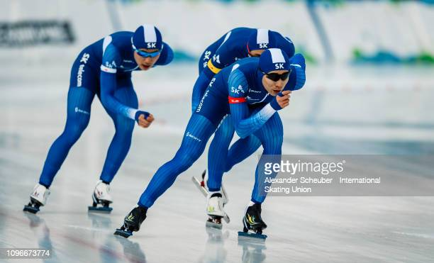 Team Korea competes in the Mens Team Pursuit sprint race during the ISU Junior World Cup Speed Skating Final day 1 on February 9 2019 in Trento Italy