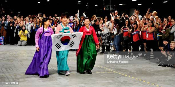 Team Korea in traditional costume parade in Roller Derby World Cup at EventCity on February 4 2018 in Manchester England