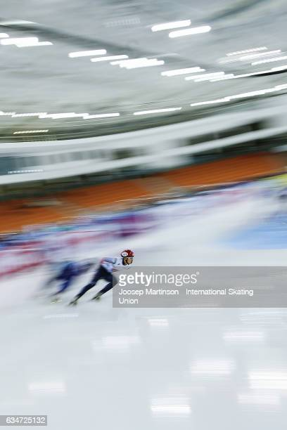 Team Korea lead the pack in the Men's 5000m relay semi final during day one of the ISU World Cup Short Track at Minsk Arena on February 11, 2017 in...