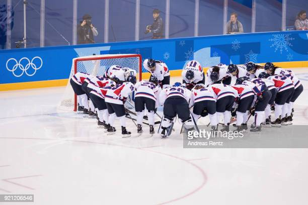 Team Korea prepare prior to the match against Sweden during the Women's Classifications game on day eleven of the PyeongChang 2018 Winter Olympic...