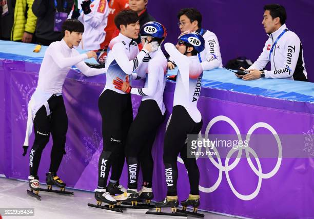 Team Korea reacts after the race during the Short Track Speed Skating Men's 5000m Relay Final A on day 13 of the PyeongChang 2018 Winter Olympic...