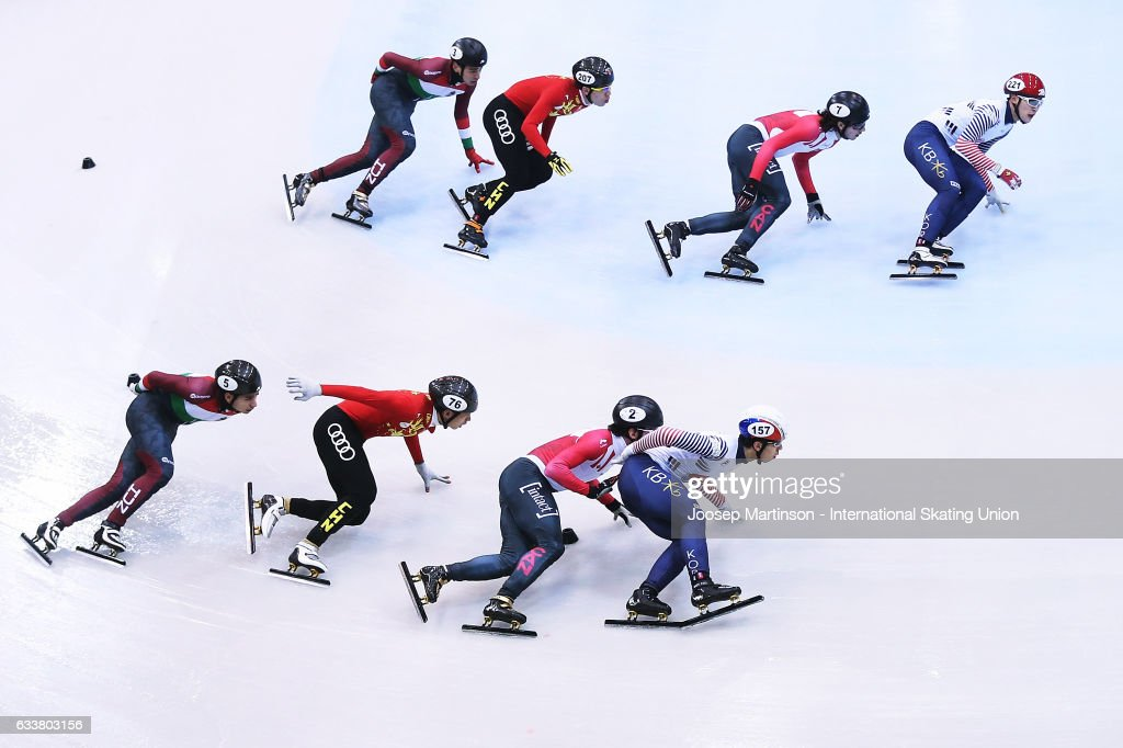 Team Korea, team Canada, team China and team Hungary compete in the Men's 5000m relay semi finals during day one of the ISU World Cup Short Track at EnergieVerbund Arena on February 4, 2017 in Dresden, Germany.