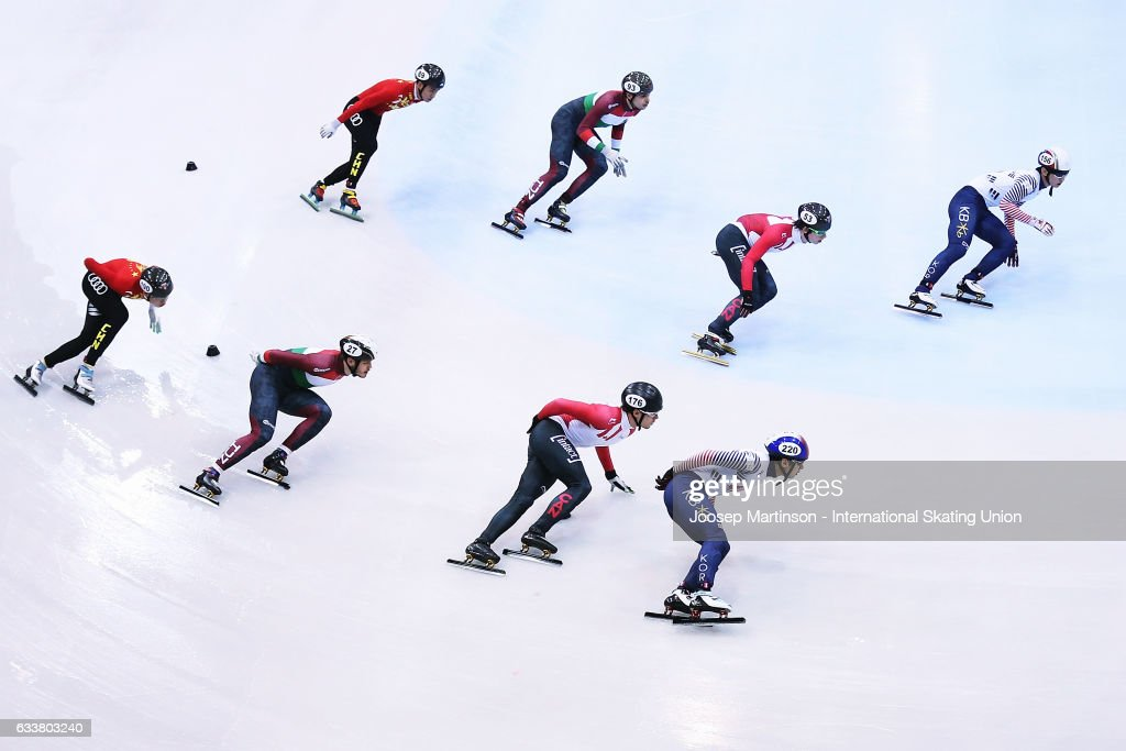 Team Korea, team Canada, team Hungary and team China compete in the Men's 5000m relay semi finals during day one of the ISU World Cup Short Track at EnergieVerbund Arena on February 4, 2017 in Dresden, Germany.