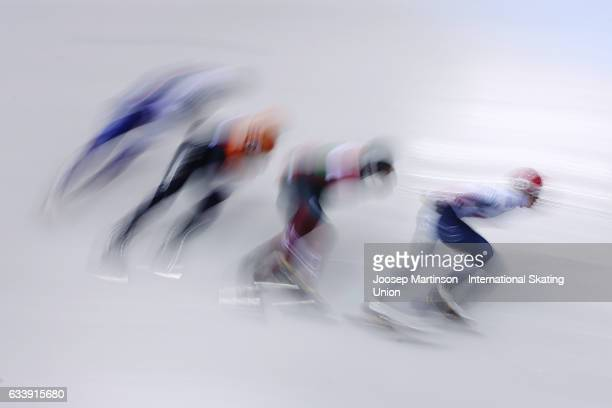 Team Korea team Hungary team Netherlands and team Russia compete in the Men's 5000m relay final during day two of the ISU World Cup Short Track at...