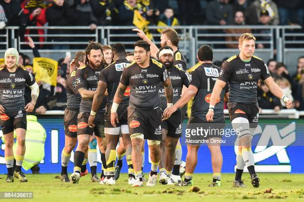Team La Rochelle celebrates the try during the Top 14 match between La Rochelle and Montpellier on December 2 2017 in La Rochelle France